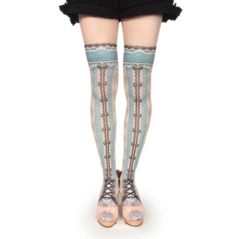 【abilletage】corset over knee socks -mint-