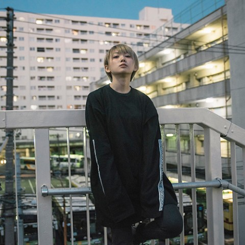 【LILWHITE(dot)】-SEI TO SHI- LONG SLEEVE TEE BLKxWHT(Lサイズ)