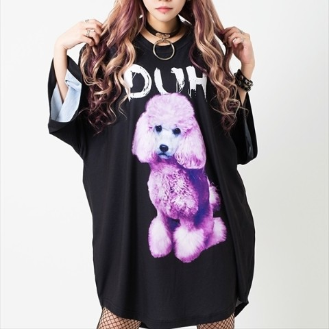 Ridicule Dog round hem BIG Tee 【Black】