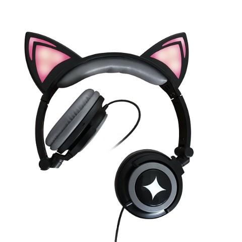 光る猫耳ヘッドフォン(黒猫) /...
