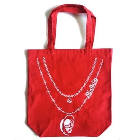 【SKULLSHIT】Double Chain Skull Necklace Tote Bag(レッド)