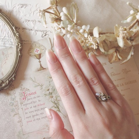【La maison de Lilli】Pearl Flower Ring 《Antique Gold》 13号