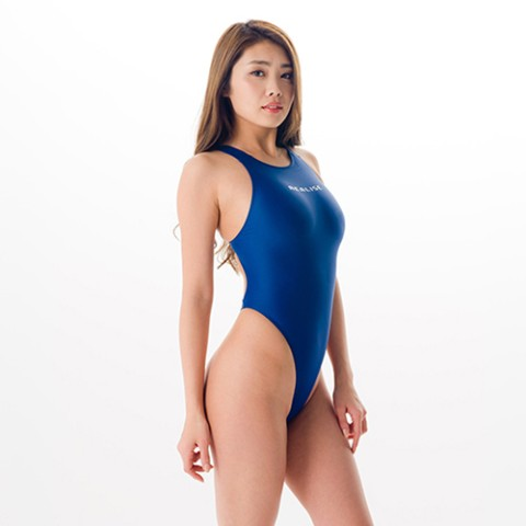 REALISE(リアライズ) 【T-111】 ワンピーススイムスーツ | Circular hole swimsuit/Thong-back(Wカレンダー加工) (M NAVY)