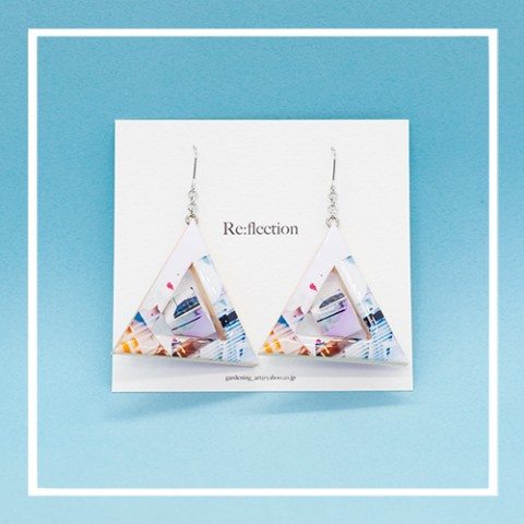 【Re:flection】triangle cubeピアス(pink blue)