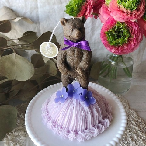 【10mei candle works】bear on the cake