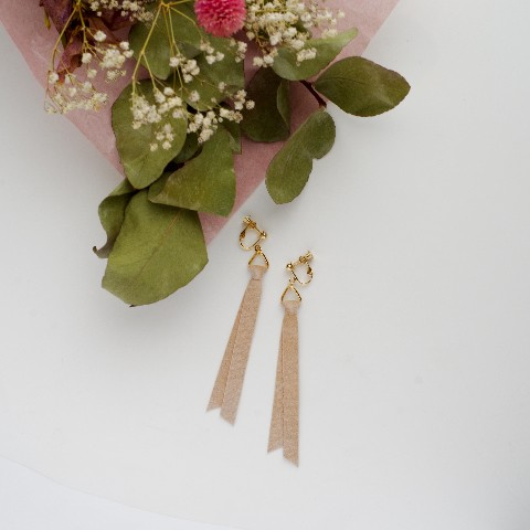 ribbon STD(earring)/Beige[GOLD]【Al】