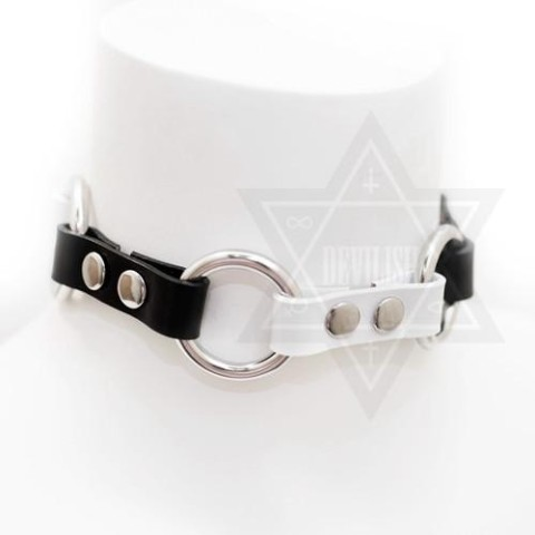 【Devilish】Yin and Yang choker<モノクロ革>