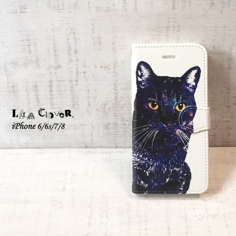 【LALA CloveR.】GALAXY CAT 手帳型 iPhone6/6sケース/iPhone7ケース/iPhone8ケース/iPhoneSE2ケース