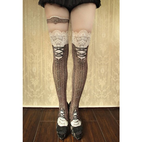 【abilletage】corset tights victorian-brown-