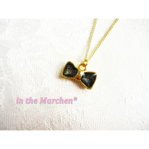 【in the Marchen*】「美しい青緑のプチリボンネックレス」 ゴールド★ 海宇宙