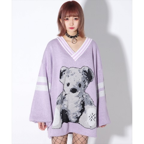 【TRAVAS TOKYO】Furry bear Balloon sleeve knit PO 【Purple】 #くまニット