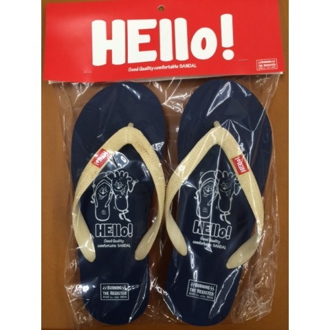 【BURNING THE REGISTER】 HELLO BEACH SANDALS (ネイビー) L 約26.5cm