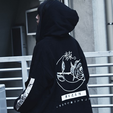 アマツカミ 棘薔薇/Rose Needle Hoodie Black 3XL