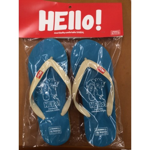 【BURNING THE REGISTER】 HELLO BEACH SANDALS (ターコイズ) L 約26.5cm