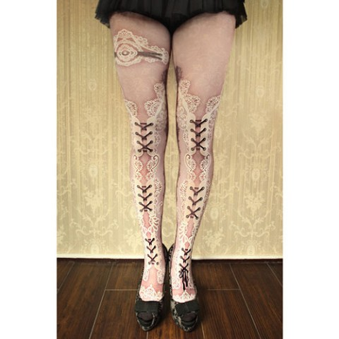 【abilletage】corset tights double lace-dolly pink-