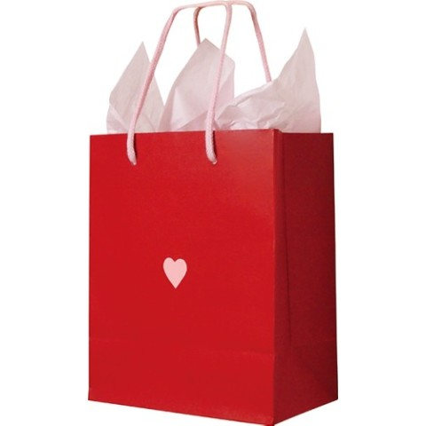 Paper Bag Heart Red