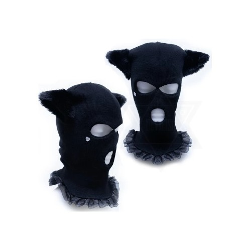 【Devilish】Black cat mask beanie