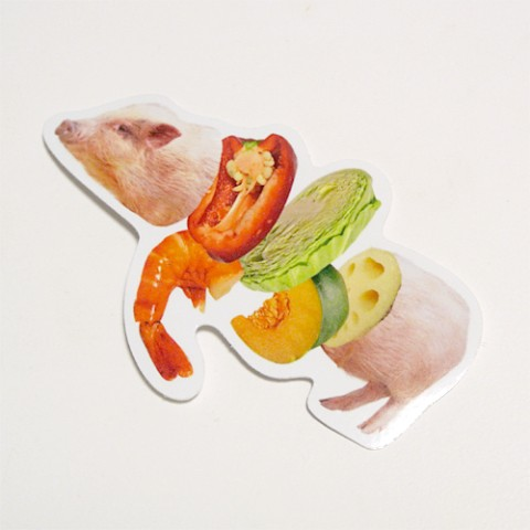 【Pola】ステッカー「JUICY ANIMALS」Pork