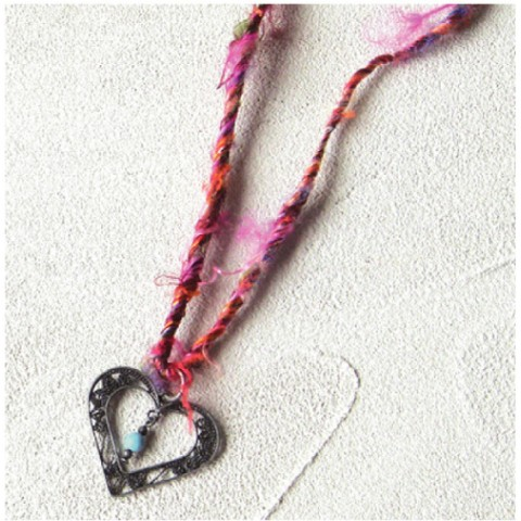 ETHNIC with Silk Necklace HEART AtqSilver