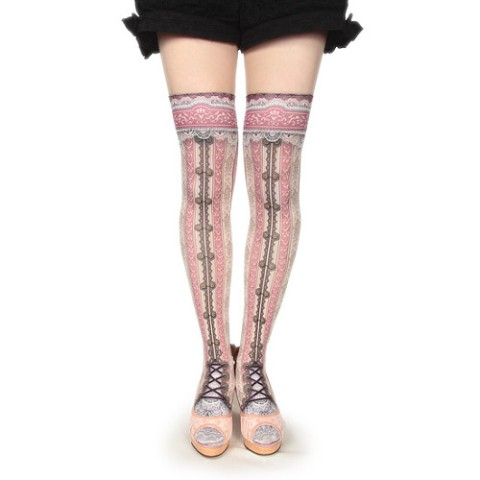 【abilletage】corset over knee socks -pink-