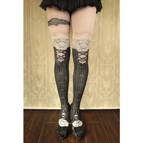 【abilletage】corset tights victorian-black-