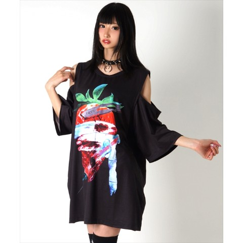 【TRAVAS TOKYO】Splatter berry cutting shoulder BIG Tee【Black】