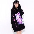 【TRAVAS TOKYO】Bright furry bear hoodie【Black/Purple】