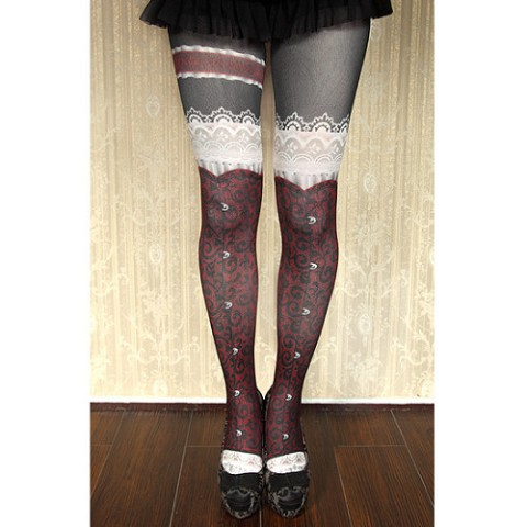 【abilletage】corset tights busk-dark red-
