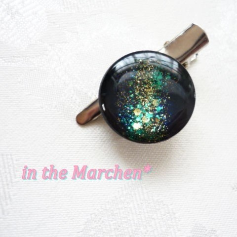 【in the Marchen*】ギャラクシーブローチ青銀銀河 クリップ