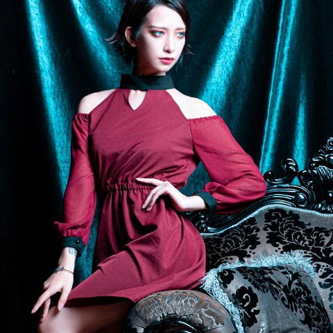 【CuLLt】Stand Collar Dress(BORDEAUX)