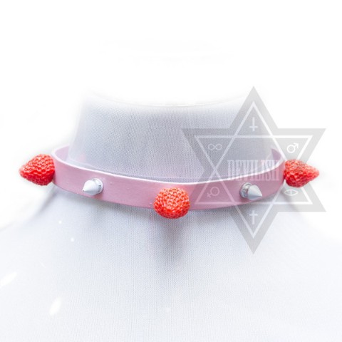 【Devilish】Strawberry cake choker pink