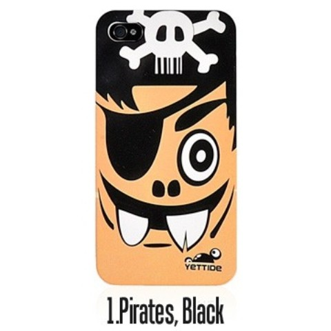 YETTIDE iPhone4S Funny Face Case/Pirates,Black