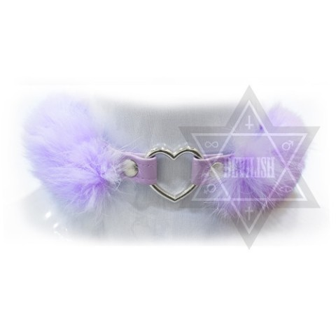 【Devilish】FLUFFY HEART CHOKER(purple)