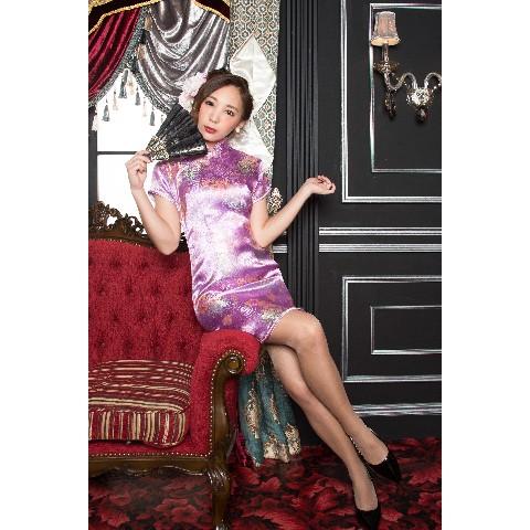 f3d01bf97258a ミニチャイナドレス 花 薄紫 L   雑貨通販 ヴィレッジヴァンガード公式 ...