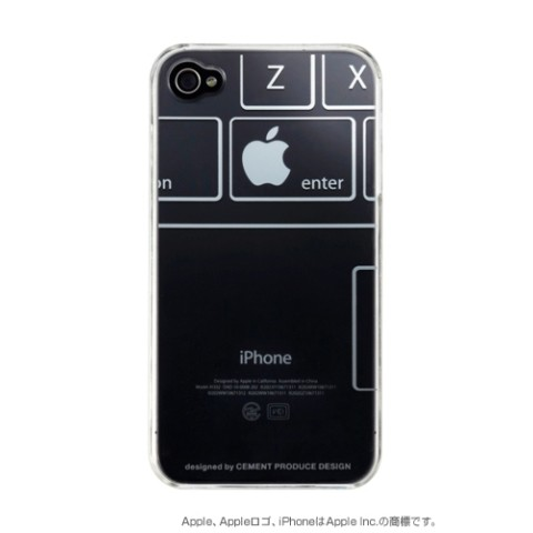 【アップルマークを有効活用】iPhone4/4Sケース iTatoo〈KEYBORD〉 LDE005-K iPhone4/4S