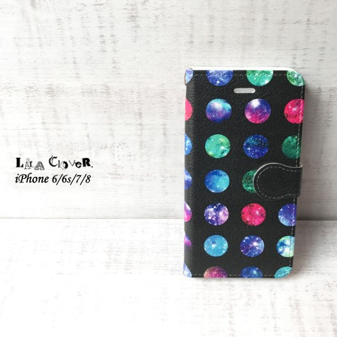 【LALA CloveR.】GALAXY DROP ブラック 手帳型 iPhone6/6sケース/iPhone7ケース/iPhone8ケース