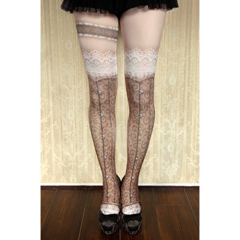 【abilletage】corset tights busk-brown-