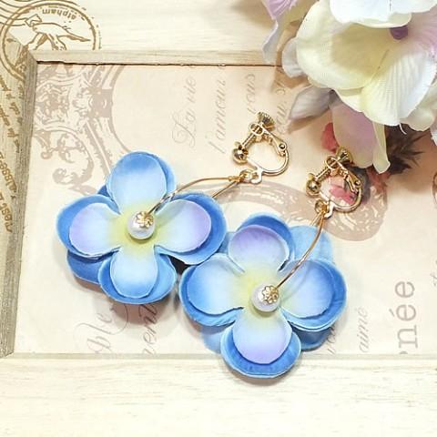 ふんわり紫陽花イヤリング