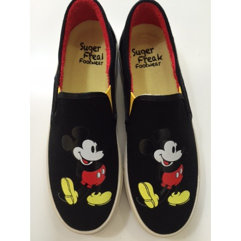 【Suger Freak 】×【Disney】BLACK SWEAT FABRIC 25CM