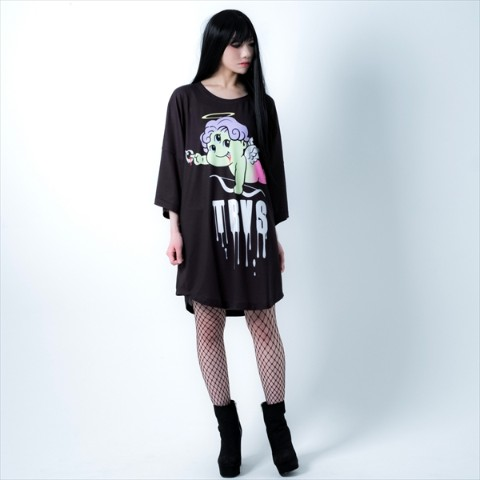 【TRAVAS TOKYO】Three Eyes round hem BIG Tee【Black】