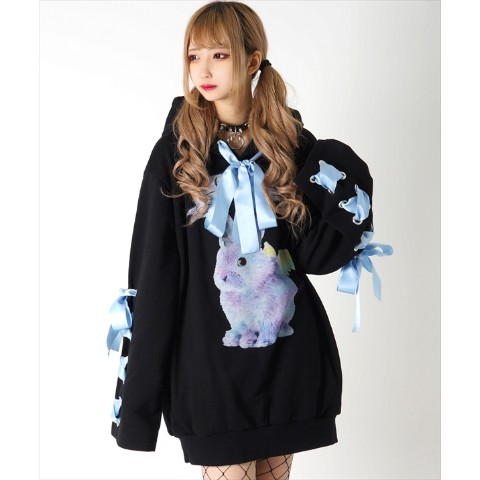 【TRAVAS TOKYO】Rabbicorn ribbon lace-up hoodie 【Black】 #リボンパーカー