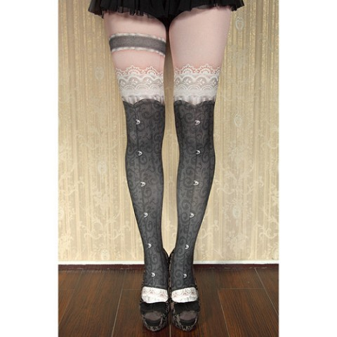【abilletage】corset tights busk-black-