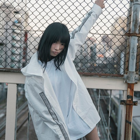 【LILWHITE(dot)】-SEI TO SHI- RIBBON HOODSHIRT WHTxBLK(XLサイズ)