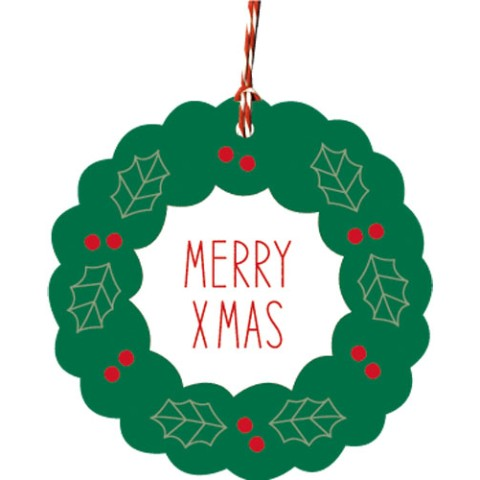 【クリスマス雑貨】Christmas Ornament Tag - Wreath