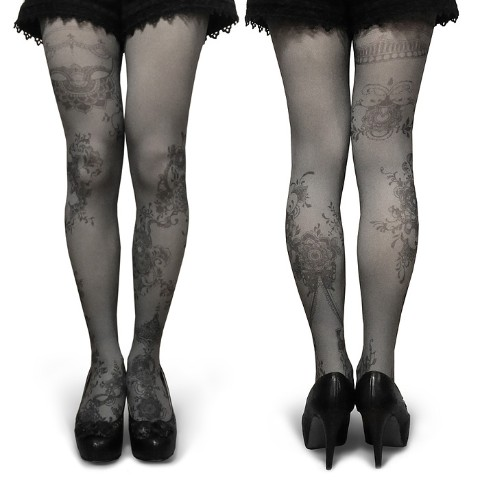 【abilletage】Tangle art tights -twine- (monochrome)