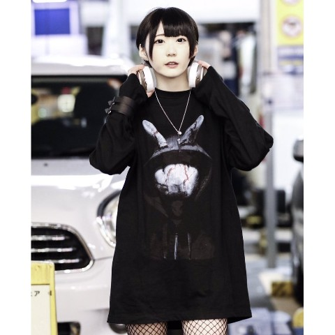 【acOlaSia】Murder Rabbit long tee(ブラック/XLサイズ)