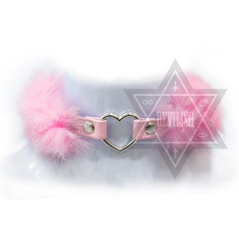 【Devilish】FLUFFY HEART CHOKER(pink)