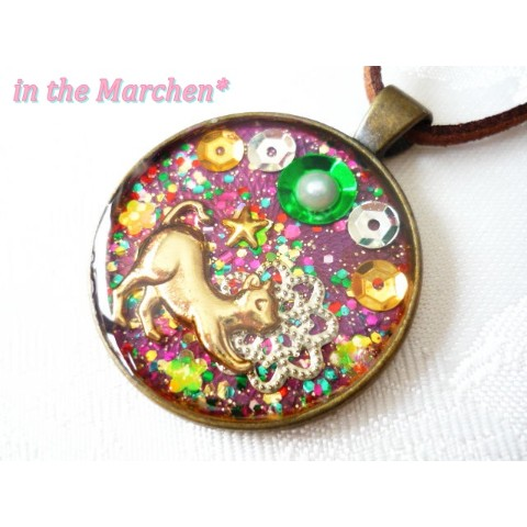 【in the Marchen*】「ナイト・キャット」ネックレス パープル