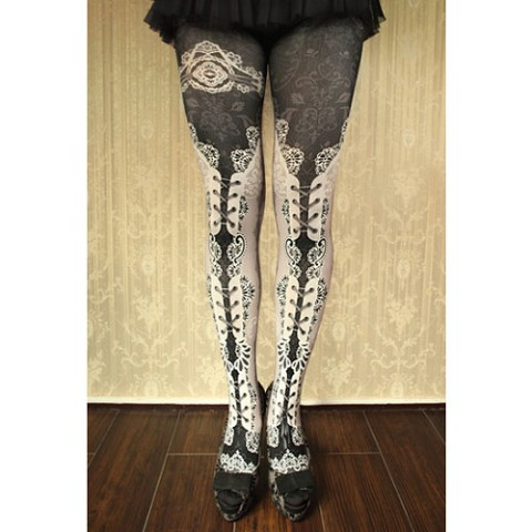 【abilletage】corset tights double lace-white-