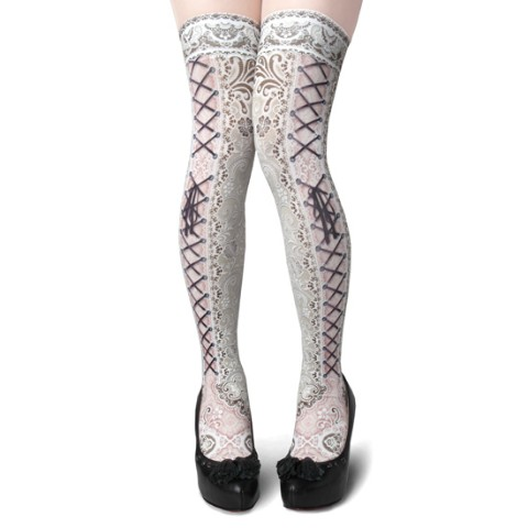 【abilletage】corset over knee socks Side Lace-up IVORY